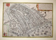 G. Braun & F. Hogenberg: MAP OF AMSTERDAM - Amstelredamum Nobile Inferioris Germaniae Oppidum, Year 1580