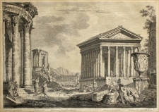 Johann Sebastian Müller (After Giovanni Paolo Panini): Roman Ruins with the Temple of Hercules, year 1753