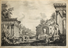 Johann Sebastian Müller (After Giovanni Paolo Panini): Roman Ruins with the Temple of Minerva and Statue of Hercules, year 1753