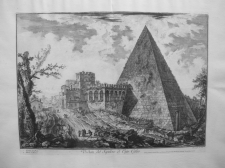 Piranesi, Giovanni: THE PYRAMID OF CAIUS CESTIUS WITH THE PORTA S. PAOLO, Year 1755