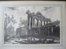 Piranesi, Giovanni: THE TEMPLE OF SATURN, WITH THE ARCH OF SEPTIMIUS SEVERUS IN THE BACKGROUND, Year 1774