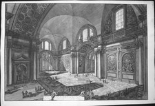 Piranesi, Giovanni: INTERIOR of S. MARIA DEGLI ANGIOLI, FORMERLY THE CENTRAL HALL OF THE BATHS OF DIOCLETIAN, Year 1776.