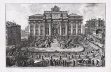 Piranesi, Giovanni: FRONT VIEW OF THE FONTANA DI TREVI, Year 1773.
