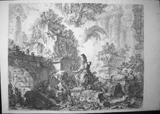 Piranesi, Giovanni: FANTASY OF RUINS WITH STATUE OF MINERVA, Year 1748