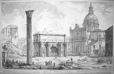 Piranesi, Giovanni: ARCH OF SEPTIMIUS SEVERUS, WITH THE CHURCH OF S. MARTINA, Year 1759